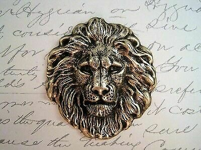 Large Oxidized Brass Plated Lion Head Stamping (1) - BOSG7856 Jewelry Finding