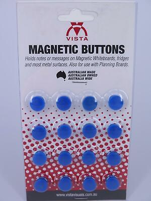 16 x BLUE 15mm Vista Whiteboard Magnetic Button VWMAG15B