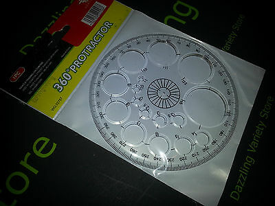 360 Protractor multi task use School,Office,Stationary, clear perspex
