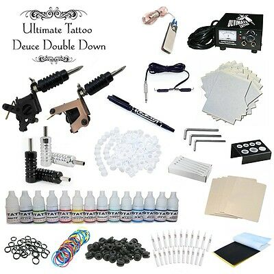 New Complete 2 Machine Pro Tattoo Kit Color Inks Power Supply Needles Tips Guns