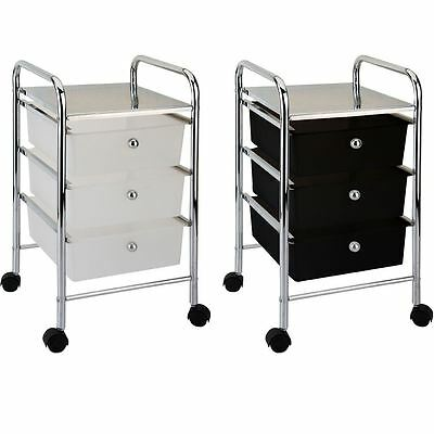 3 Drawer Trolley Black White Kitchen Food Storage Tier Unit New By Home Discount
