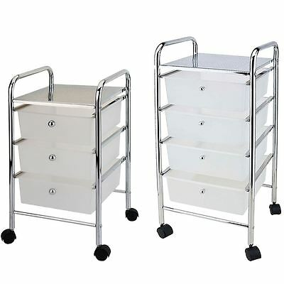3 4 Tier Drawer Trolley White Chrome Cart Storage Tool Rack New By Home Discount