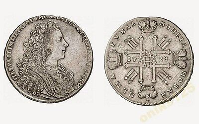 RUSSIA 1 Rouble Ruble 1728 Silver Peter II (1727-1730) XF
