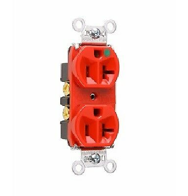 P & S 8300-HRED Heavy Duty Hospital Grade Duplex Receptacle, 20A 125V, 5-20R,Red