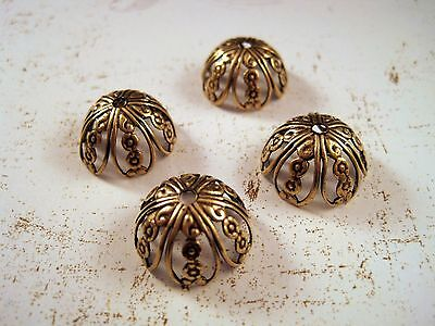 Large Oxidized Brass Filigree Bead Cap Stampings (4) - BOS7426 Jewelry Finding