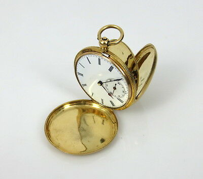 1800's A. Perrenoud Swiss 18K Yellow Gold Hunting Case Key Wind Pocket Watch