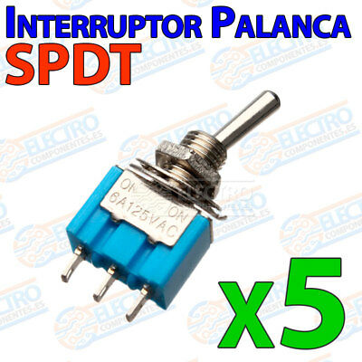 5x Mini Interruptor palanca SPDT ON/OFF 6A 2 posiciones 5mm switch conmutador