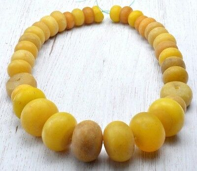 HUGE strad African Phenolic amber trade Beads Antique Vintage Mali Necklace