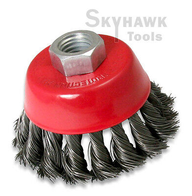 """New 3"""" Knot Type Fine Wire Cup Brush Wheel 5/8"""" Arbor FITS 4-1/2"""" Angle Grinder"""