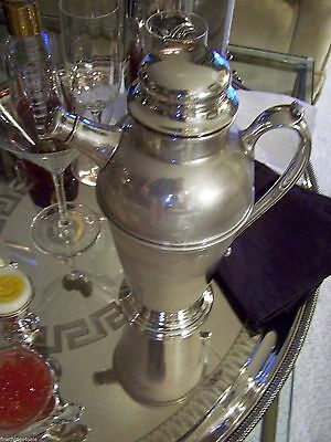 Large 1 1/2 Qt Stunning Art Deco Era Silver Cocktail Shaker Pitcher Top Notch