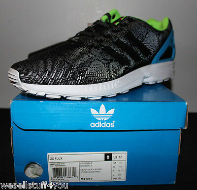 san francisco 85601 8471e ADIDAS ZX FLUX 3M Reflective Snake Black Torsion ED Sneakers Men's Size 12  New