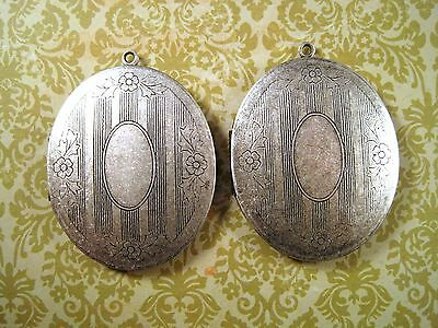 Large Oxidized Silver Fancy Oval Lockets (2) - SOWLOCV Jewelry Finding
