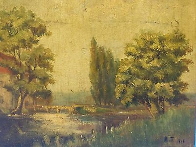 FANTASTIC  SIGNED 1916 TONALIST LUNEVILLE FRANCE LANDSCAPE PAINTING  by A. TURIN