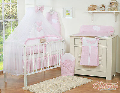 11pcs BABY GIRL GINGHAM PINK & WHITE BEDDING SET COT / BED LARGE CANOPY & HOLDER