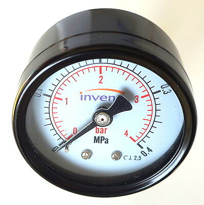 INVENA Industrial rear  50mm Hydraulic Pressure Gauge Manometer  4 bar