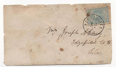CSA Cover Scott #2 VF Stamp Posotaligo SC Black CDS Feb 13, 1862?