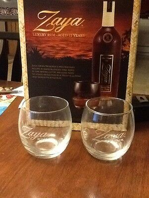 2 New Round Zaya Rum Tumbler Rocks Drink Glasses out of Promotional Gift box