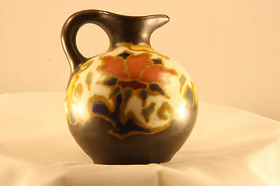 MINIATURE VINTAGE HAND PAINTED GOUDA ART POTTERY PITCHER MARKED REGINA