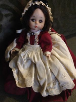 Vintage Madame Alexander Doll Burgundy Dress Beige/Cream Apron And Hat