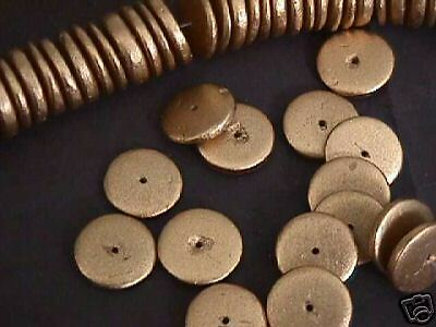 Gold Metallic 15mm Coin Disk Rondelle Wood Beads 30pc
