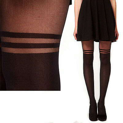 POPULAR Sexy Stockings Pantyhose MOCK OVER THE KNEE DOUBLE STRIPE SHEER TIGHTS