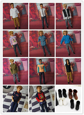 30 PCS Mix Fashion Handmade cool clothes&shoes&hangers For ken Doll