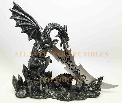 Ancient Dragon Breathing Fire Knife Dagger Letter Opener Figurine Home Decor