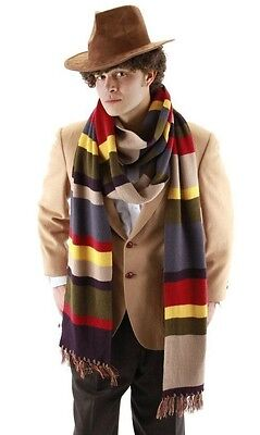 Dr Doctor Who quarto quarto Tom Baker righe 100% acrilico DELUXE Sciarpa