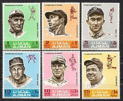 Baseball 1969 Mint NH Cplt Sports Champions  Ruth Musial Cobb +more  Mi 388-393