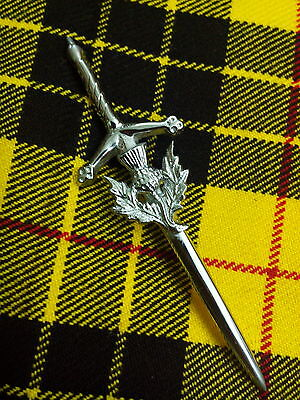 Scottish Thistle Crest Kilt Pin Chrome Finish/Scottish Kilt Pin In Chrome Finish