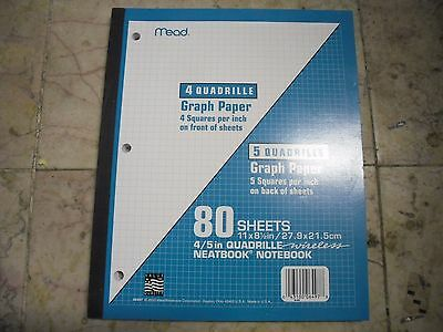 New ! 80 Sheets Mead Wireless Neatbook 4 Quadrille Graph Paper 11 In. X 8.5 In