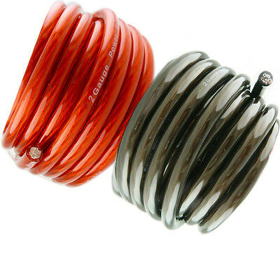 10' ft 2 Gauge 5' RED and 5' Black Car Audio Power Ground Wire Cable Feet AWG