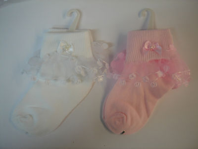 NEW girl frill socks pink/ white