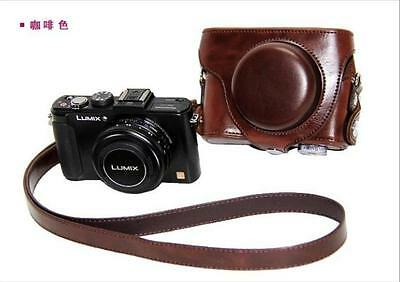 Coffee Leather Camera Case Bag Fit Panasonic Lumix DMC-LX7 LX5 Leica D-LUX6 LUX5