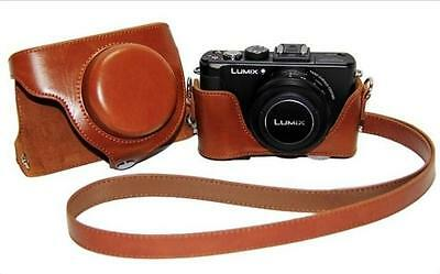 Brown Leather Camera Case Bag Fit Panasonic Lumix DMC-LX7 LX5 Leica D-LUX6 LUX5
