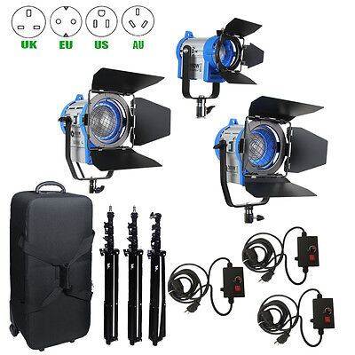 Pro Film 150/300/650W Fresnel Tungsten Spotlight+case+Air stands+3pcs dimmer Kit
