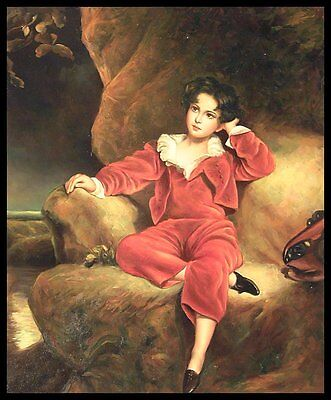"24""x20"" Oil Painting on Canvas, Boy in Red Suit, Hand Painted"