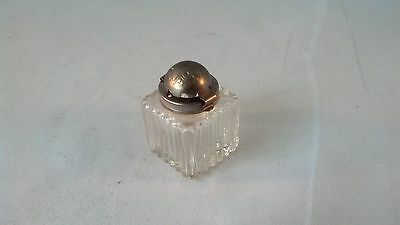 VICTORIAN PERIOD  GLASS INKWELL with STERLING SILVER TOP  (T)