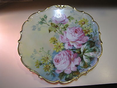 Antique Limoges Wall Plate Charger Flambeau Roses Hand Painted Signed