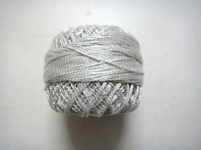 White with Silver Lurex- 20 grams Cotton Thread Yarn-Crochet Embroidery Knitting