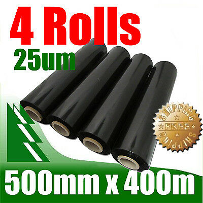 4 Rolls 500mm x 400m 25um Black Stretch Film Pallet Wrap Wrapping BEST PRICE