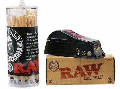 Raw 50 King Size pre rolled cones bundle With King Size Cone Shooter