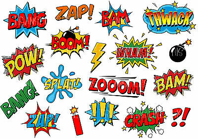 COMIC SOUND EFFECTS SPEECH BUBBLES STICKER WALL DECO DECAL SUPER HEROES lot CS