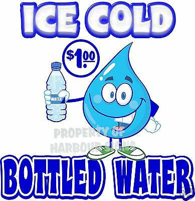 Ice Cold Bottled Water $1.00 Drink Concession Beverage Food Truck Decal 8""
