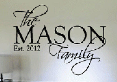 Wall Decor Decal Removable Vinyl Personalized Sticker Custom Family Name Date