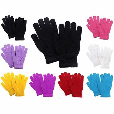 Boys Girls Solid Gloves Black Purple Winter Hand Warmer Mittens Hand Solid Color