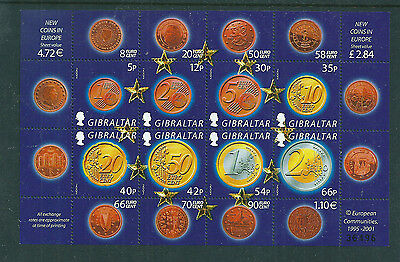 Gibraltar 2002 Euro Currency sheetlet unmounted mint