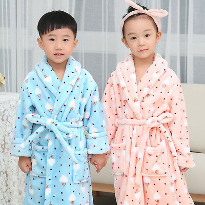 Kid Bathrobes Coral Bath robe Fleece Cartoon Bath Robes Child Boy Girl Sleepwear