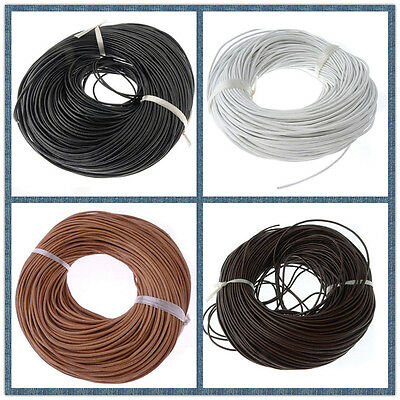 5M/10M/50M 2mm 100% Real Genuine Leather DIY Jewelry Making Rope Thong Cord #4