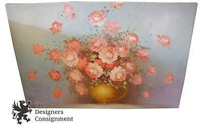 Robert Cox Signed Floral Still Life Roses Impulse Designs Oil Painting on Canvas